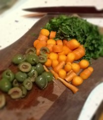 Carrots, olives and parsely