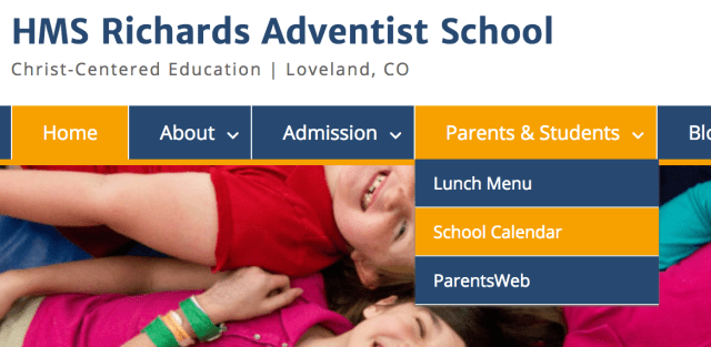 "Screenshot of the ""Parents & Students"" dropdown menu showing a link to the school calendar"