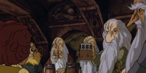 Cartoon Thorin drinking in Bag End