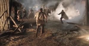 Hazen rushes into a Medieval battle against Tervin's men.