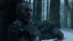 Stannis leans against a birch before he is killed.