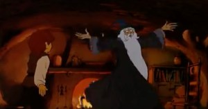 Cartoon Gandalf spins around while speaking the Black Speech in The Shire.