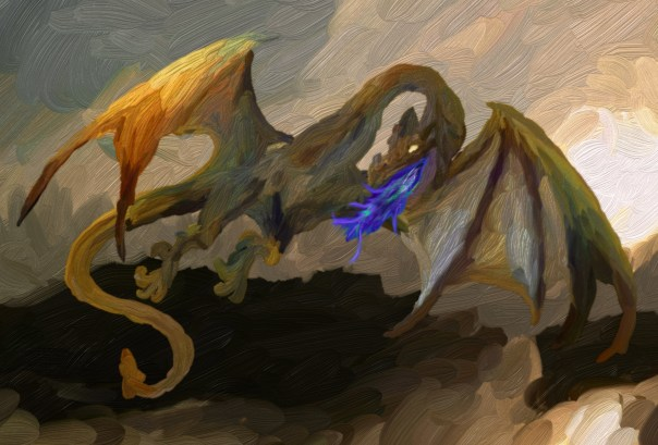 An oil painting of a soaring dragon.