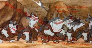 Orcs singing in the Rankin/Bass Return of the King cartoon.