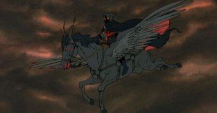 The Witch-King rides a pegasus in the Rankin/Bass cartoon.