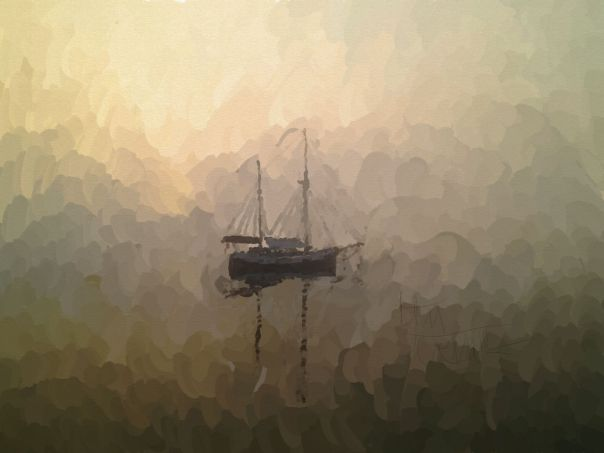 An oil painting of a sailboat on a foggy morning.