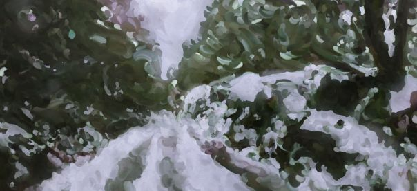 An oil painting of a mossy outcrop in snow.