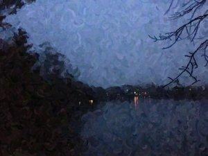 An impasto oil painting of Glen Lake at twilight.