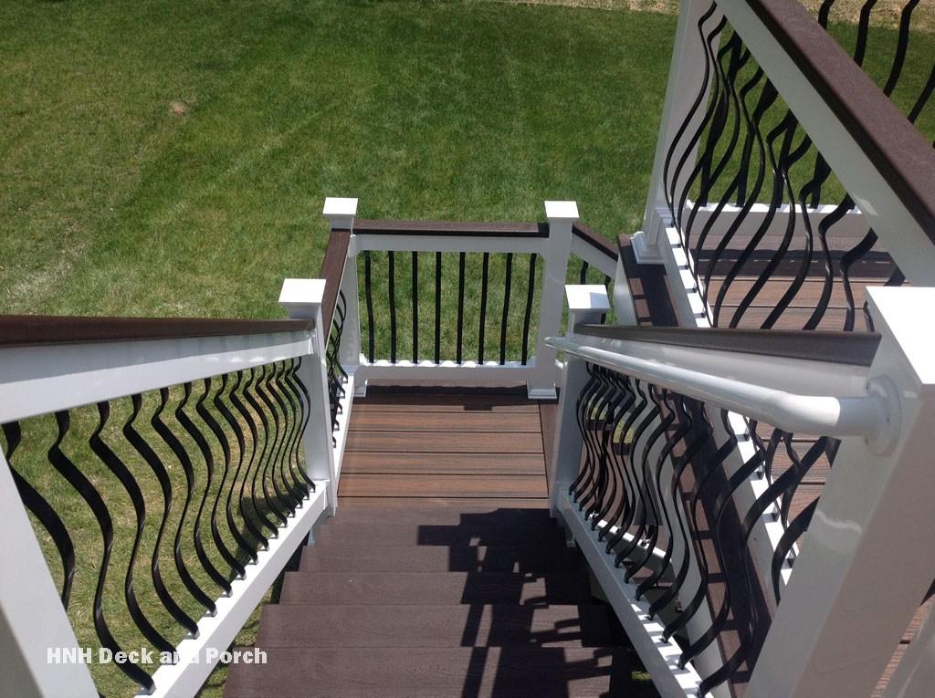 Deck Steps Gallery Hnh Deck And Porch Llc 443 324 5217 | Vinyl Railings For Outside Steps | Balusters | Composite | Wood | Precast Concrete Steps | Railing Installation