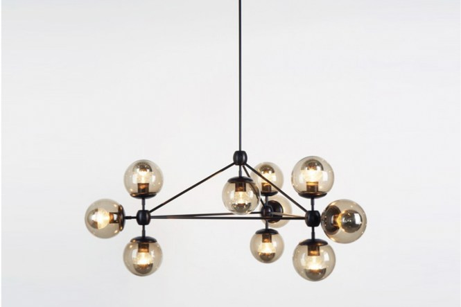 Modo Chandelier 3 Sided 10 Globes Bronze Smoked By Jason Miller For Roll