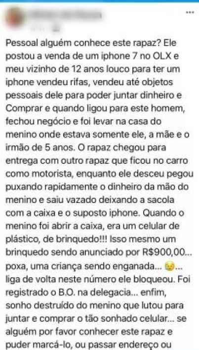 golpe de venda de celular