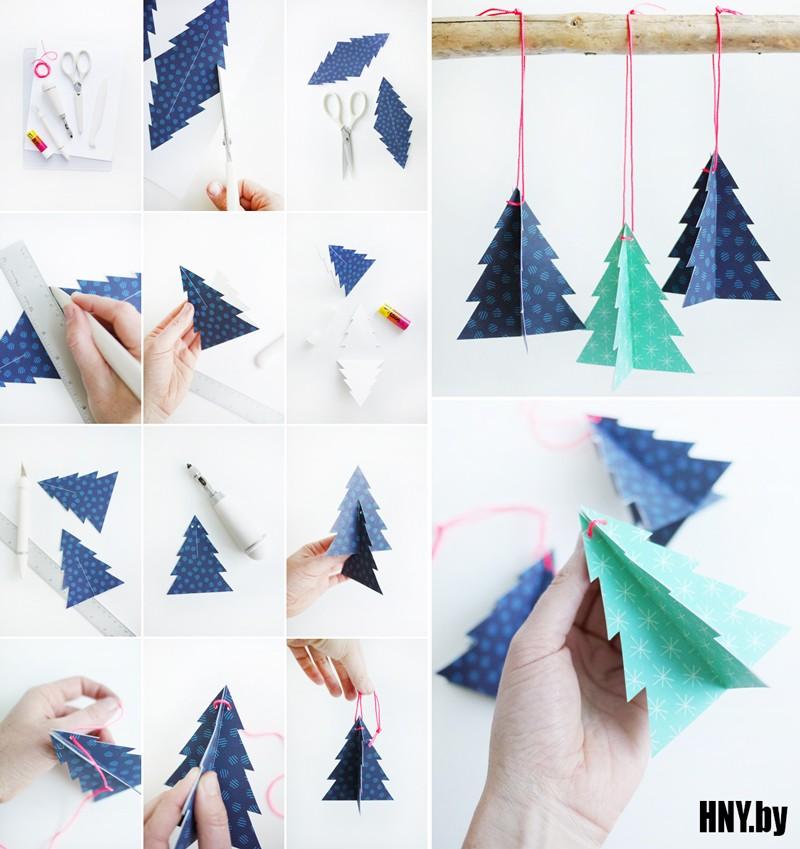 Pokok Krismas: menghiasi pokok Krismas dengan mainan kertas