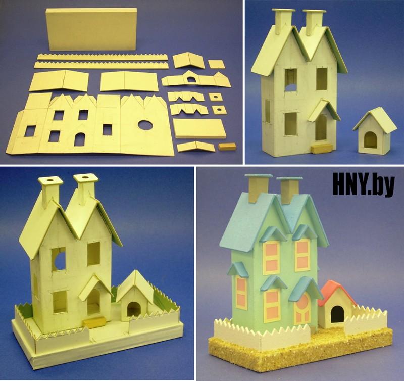 Поделка домик своими руками: как сделать новогодний домик с башенками своими руками. Готовый шаблон