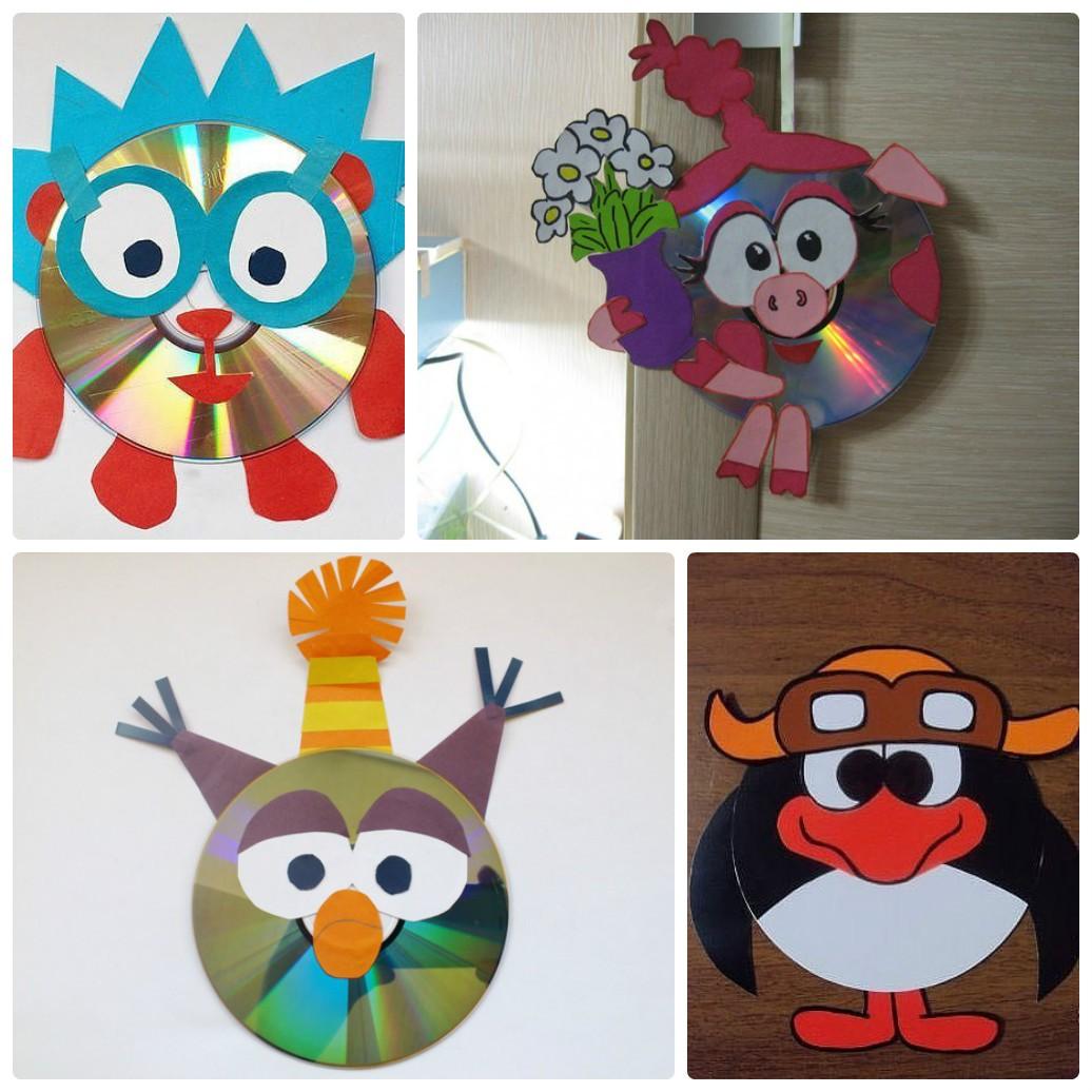 Новогодние поделки из дисков своими руками для детей: делаем Смешариков