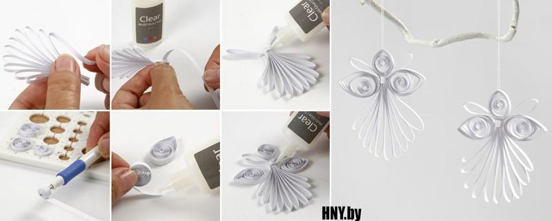 # 3 mainan kertas pada pokok Krismas: membuat seorang malaikat dalam teknik tumpuan