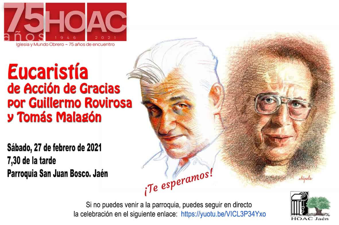 Lee más sobre el artículo Eucaristía de Acción de Gracias por Guillermo Rovirosa y Tomás Malagón