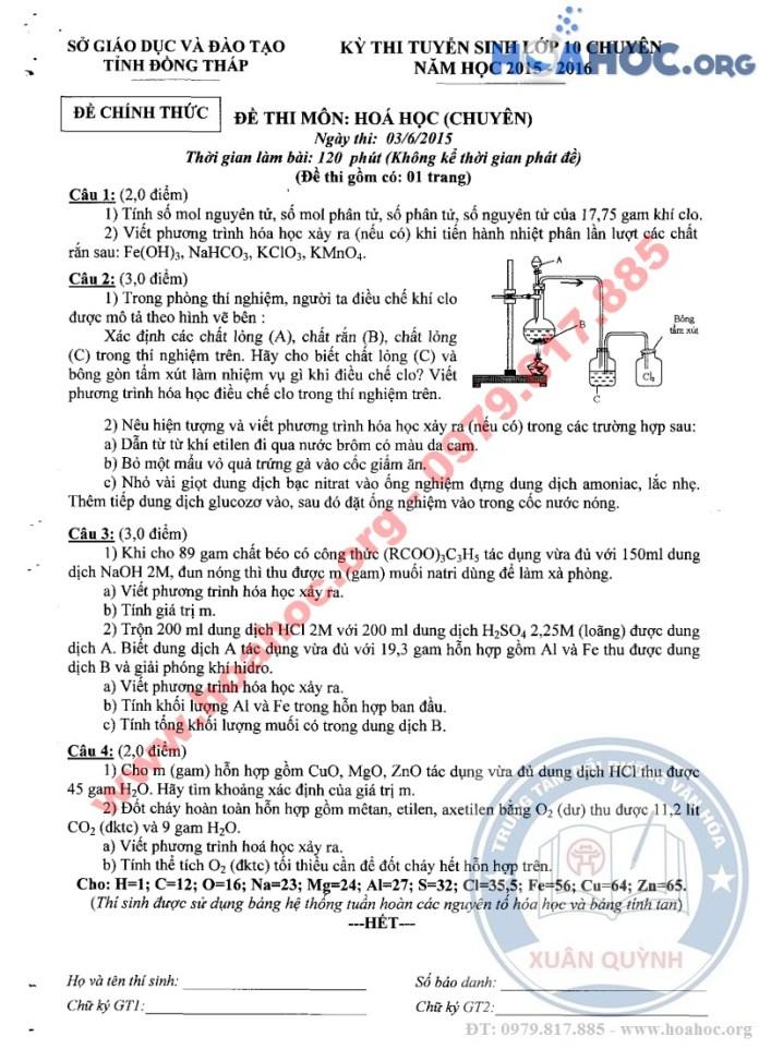 Đề thi tuyển sinh lớp 10 chuyên - Tỉnh Đồng Tháp - 2015 - 2016