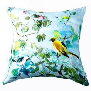 Designers Guild Kissen Giardino Segreto Delft Blau-Gelb Vögel Pflanzen Dekokissen Himmel