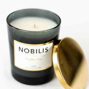 Nobilis Duftkerze Poudre d'Iris Iris-Puder & Veilchen Kerze Duft Candle Schwarz Gold