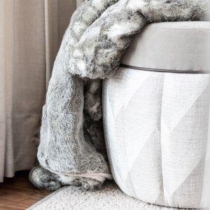 Raumteiler Bad Schlafzimmer Hocker Felldecke Kunstfell Grau Teppich