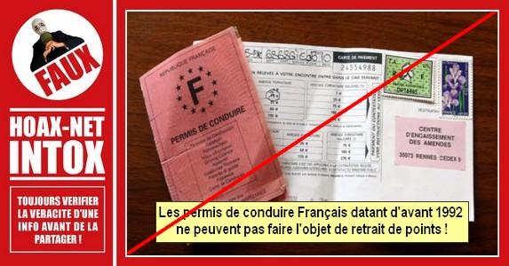 Il est FAUX de croire qu'il n'y a pas de retrait de point pour les anciens  permis de conduire Français