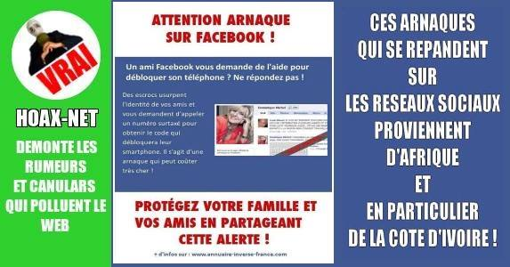 ATTENTION ARNAQUE SUR FACEBOOK