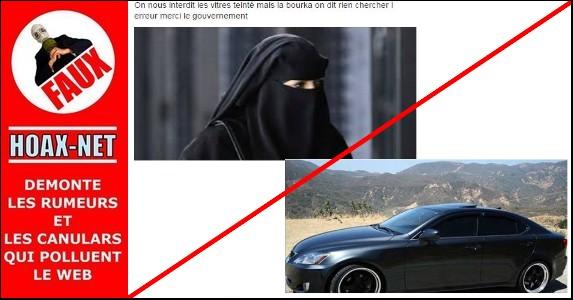 On nous interdit les vitres teintées mais pour la burqa on ne dit rien  !
