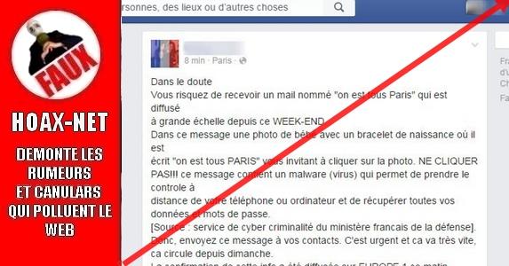 LE MAIL «ON EST TOUS PARIS» EST UN FAKE