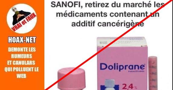 Azorubine, additif cancérigène présent dans le Doliprane sirop ?