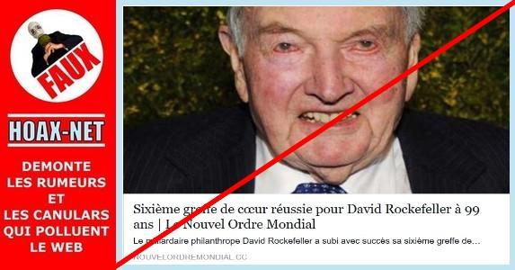 NON, David Rockefeller n'a pas subi avec succès sa sixième greffe de coeur en 38 ans à l'âge de 99 ans.