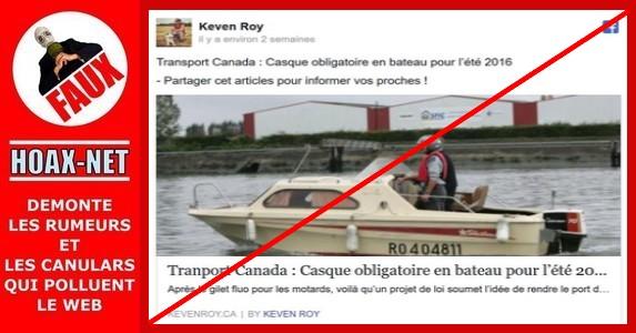 Non, le port du casque ne sera pas obligatoire en bateau au Canada !