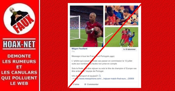 NON, la finale de l'Euro 2016 ne sera pas rejouée à cause de l'arbitrage !