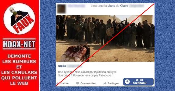 L'Image de fille syrienne lapidée par les rebelles pour avoir un compte Facebook est FAUSSE !