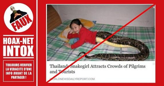 Non, cette petite fille Thaïlandaise n'est pas mi-humaine / mi-serpent !