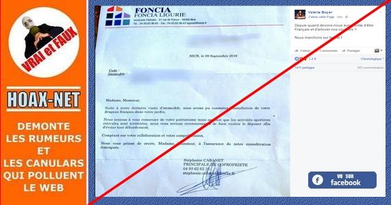 Récupération politique suite à une lettre du groupe FONCIA contre un drapeau français à Nice