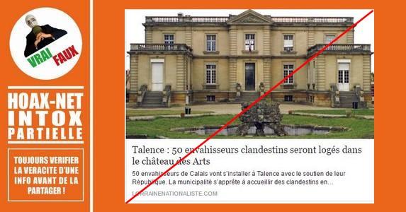 Non, 50 envahisseurs clandestins ne vont pas s'installer dans le château de Talence.