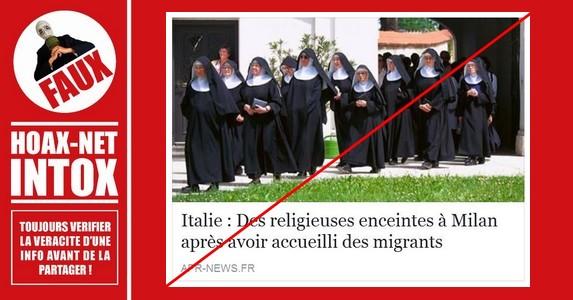 Non, des religieuses n'ont pas été mises enceintes par des migrants en Italie.