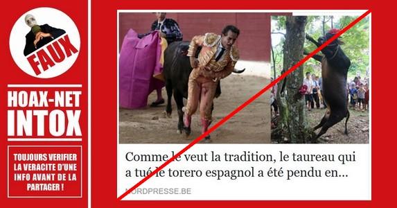 Non NordPresse, ce torero n'a pas été tué à Béziers et le taureau n'a pas été pendu en place publique.