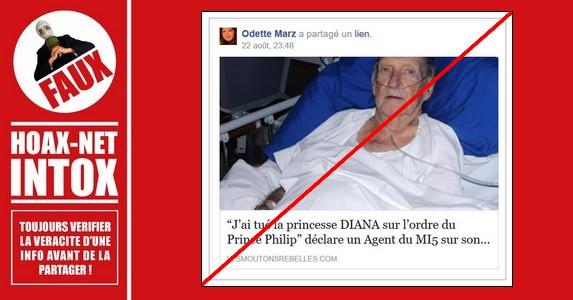 NON, un Agent du MI5 n'a pas déclaré avoir tué la princesse DIANA sur l'ordre du Prince Philip.