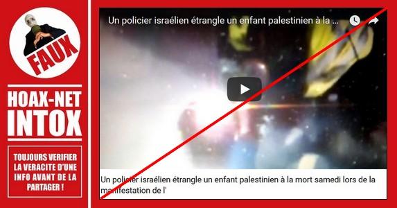 NON, il ne s'agit pas d'un policier israélien qui étrangle un enfant palestinien à mort.