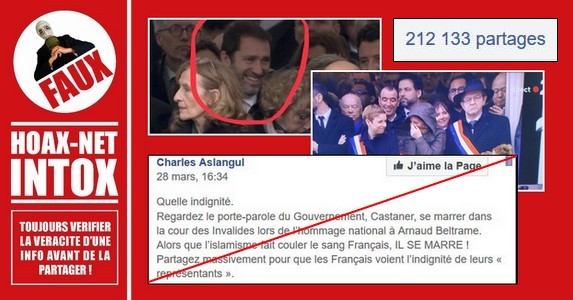 Non, C. Castaner, B. Griveaux, C. Autain, M. Fabre et A. Bergé ne riaient pas lors de l'hommage national à Arnaud Beltrame
