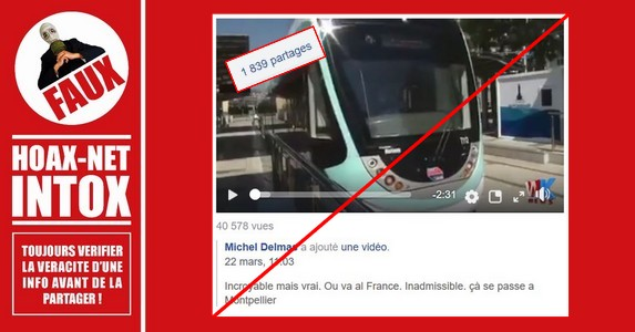 Non, cet homme ne fait pas une prière devant un tram à Montpellier !