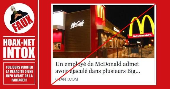 Non, un employé d'un McDonald's n'a pas éjaculé dans la sauce spéciale.