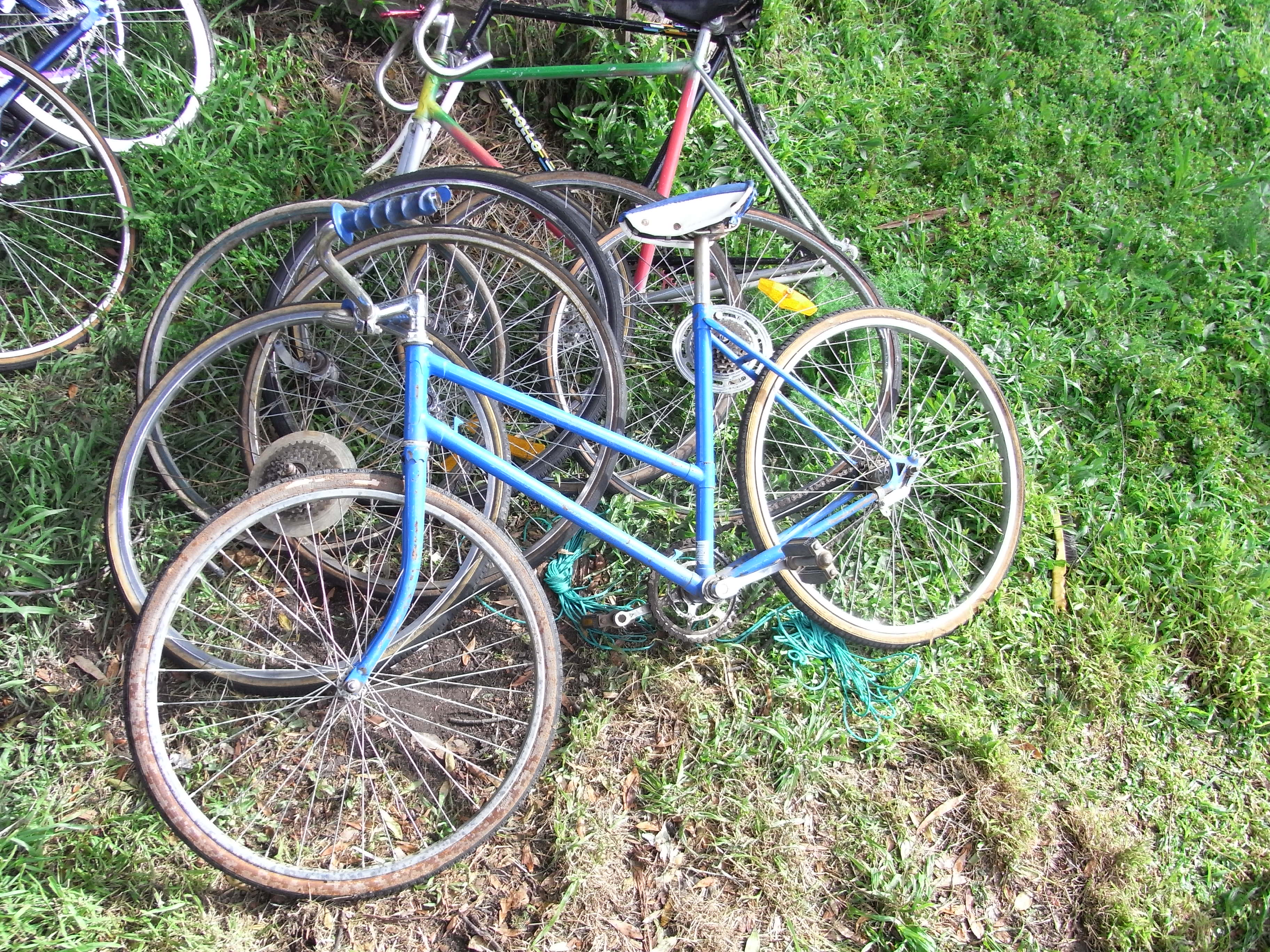 blue bike and some frames.