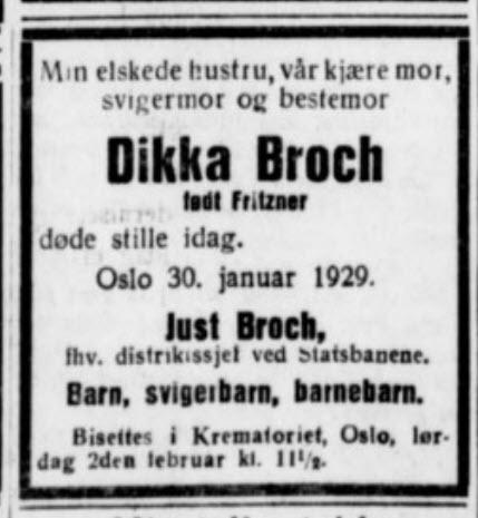 Dødsannonse Dikka Broch - Aftenbladet 29.01.1929