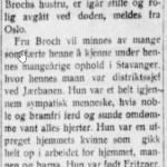 Nekrolog Dikka Broch - Aftenbladet 31.01.1929