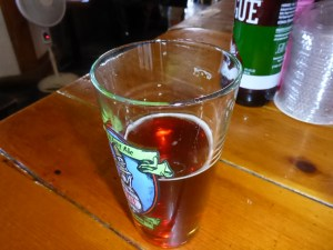 Rogue Dead Guy Ale.  The glass is half full.