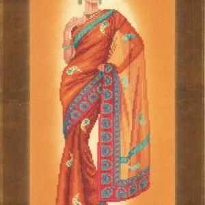 Lanarte Borduurpakket - Indiase dame in oranje Sari