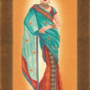Lanarte Borduurpakket - Indiase dame in blauwe Sari