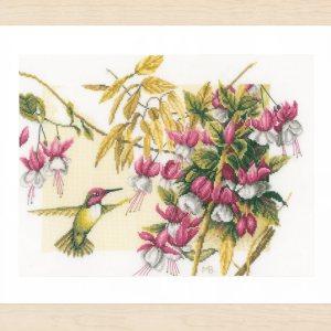 Lanarte Borduurpakket - Kolibri met fuhsia's